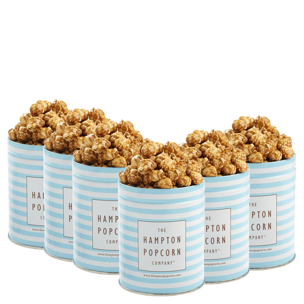 This is a 6 pack of classic quart tins with caramel popcorn.