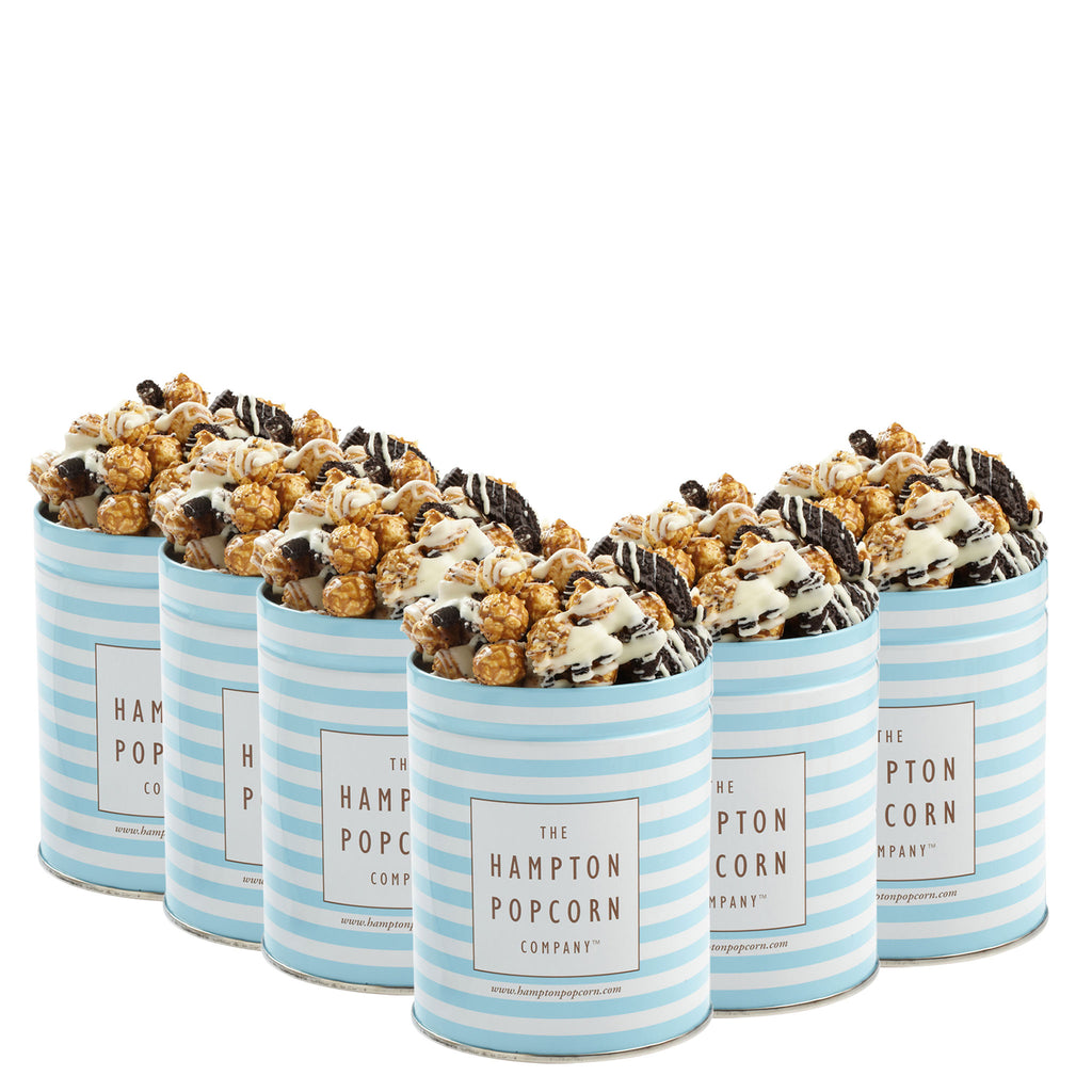 This is a 6 pack of classic quart tins with cookies and cream popcorn.