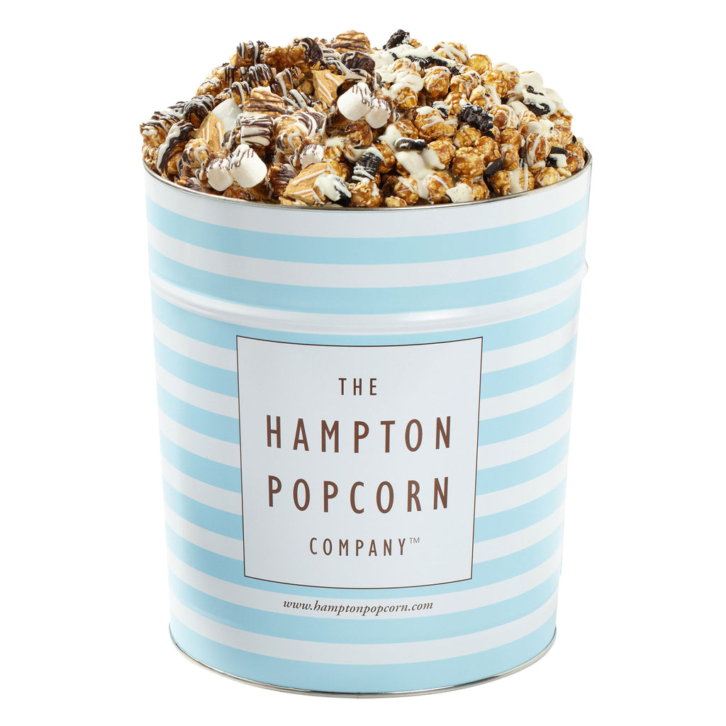 This is a 3.5 gallon classic popcorn tin filled with cookies and cream and smores popcorn.