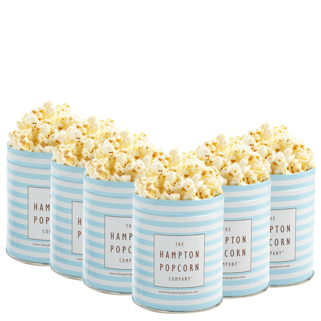 This is a 6 pack of classic quart tins with kettle popcorn.