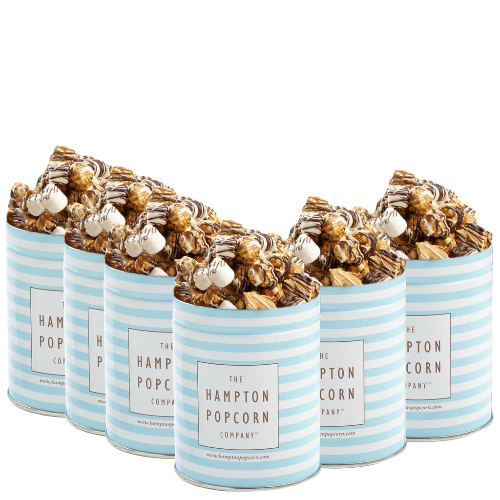 This is a 6 pack of classic quart tins filled with smores popcorn.