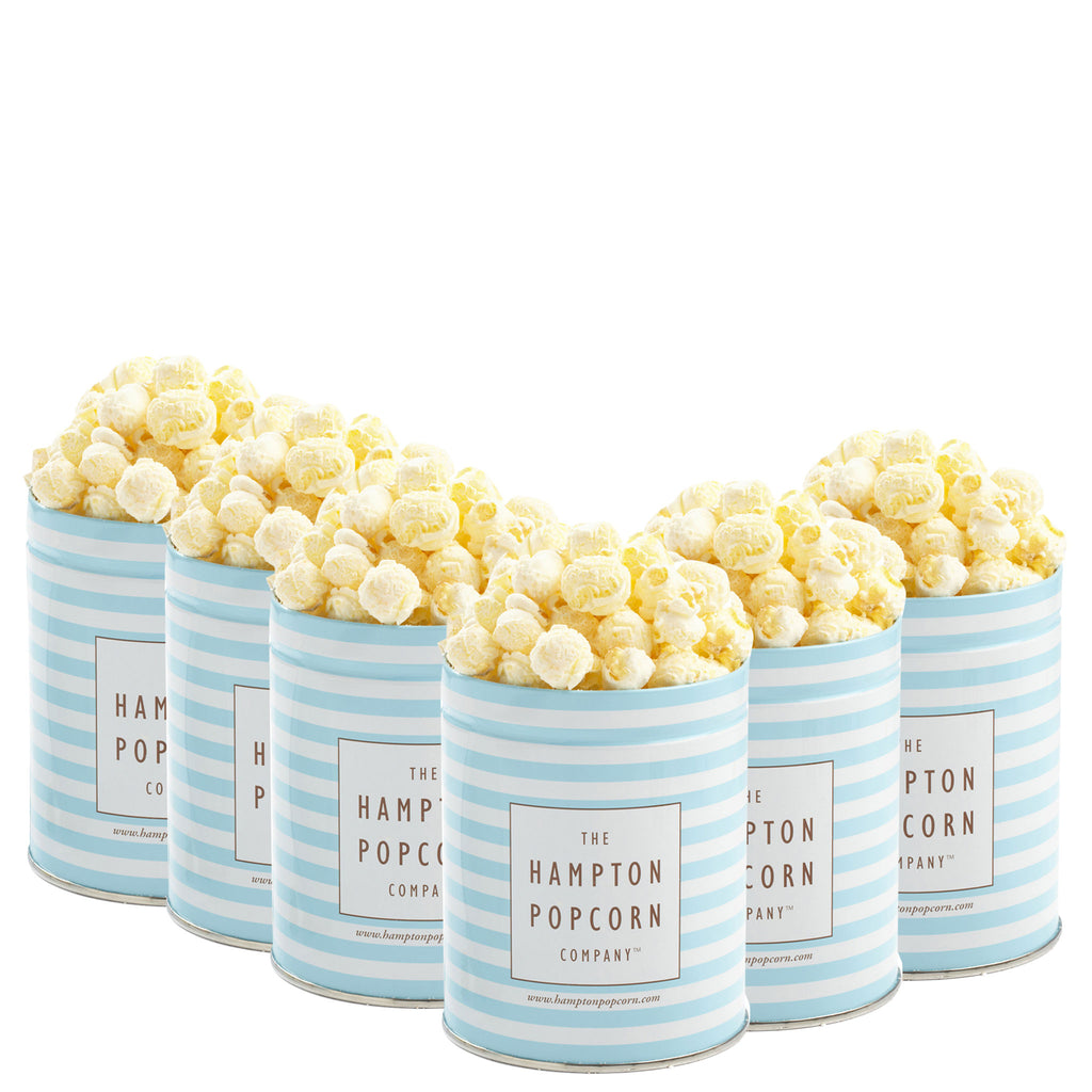 This is a 6 pack of classic quart tins with white cheddar cheese popcorn.