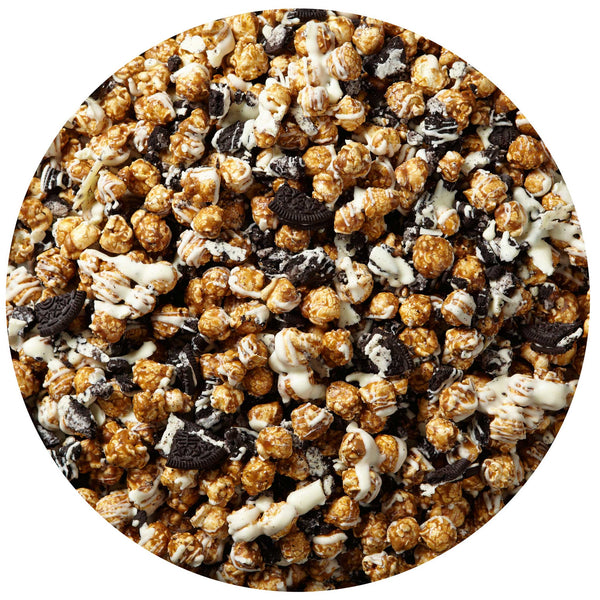 This is a swatch showing cookies and cream popcorn.