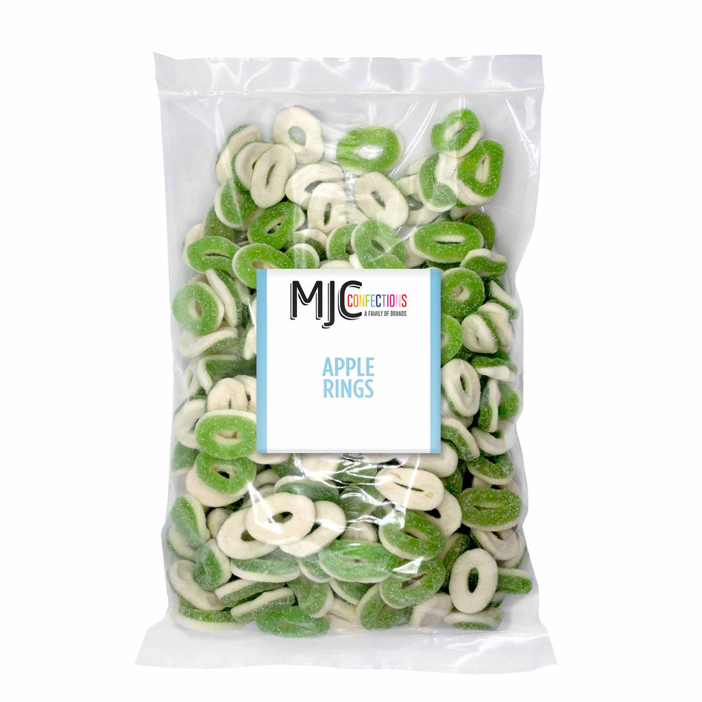 This is a 5 lb. bulk candy bag with apple rings.