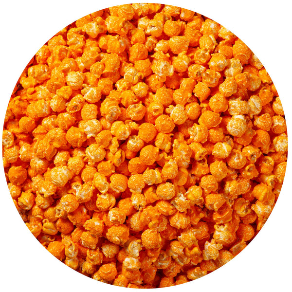 This is a swatch showing orange cheddar cheese popcorn.