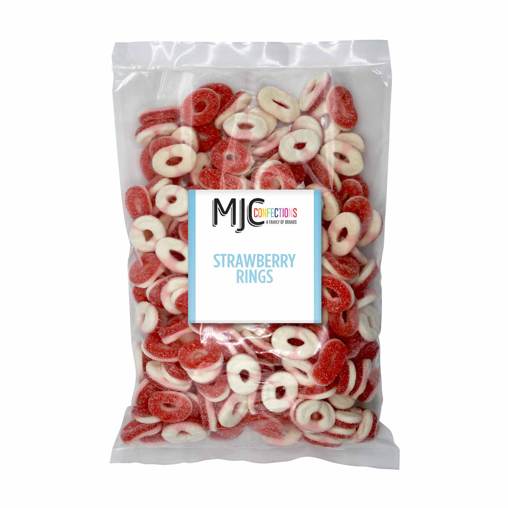 This is a 5 lb. bulk candy bag with strawberry rings.