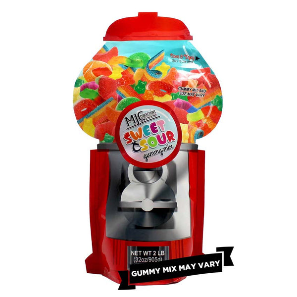 This is a single image of a large candy machine bag with assorted candies.