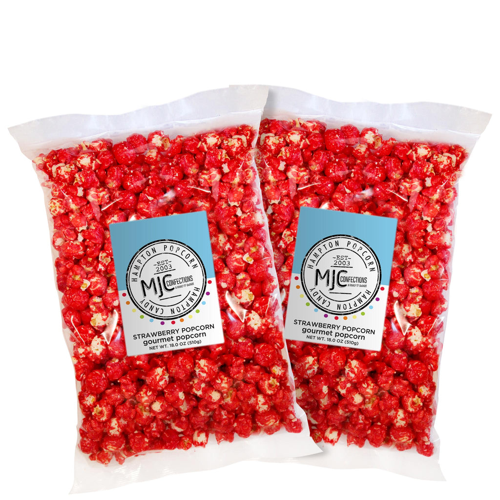 This is a 2 pack of popcorn bags filled with strawberry popcorn.