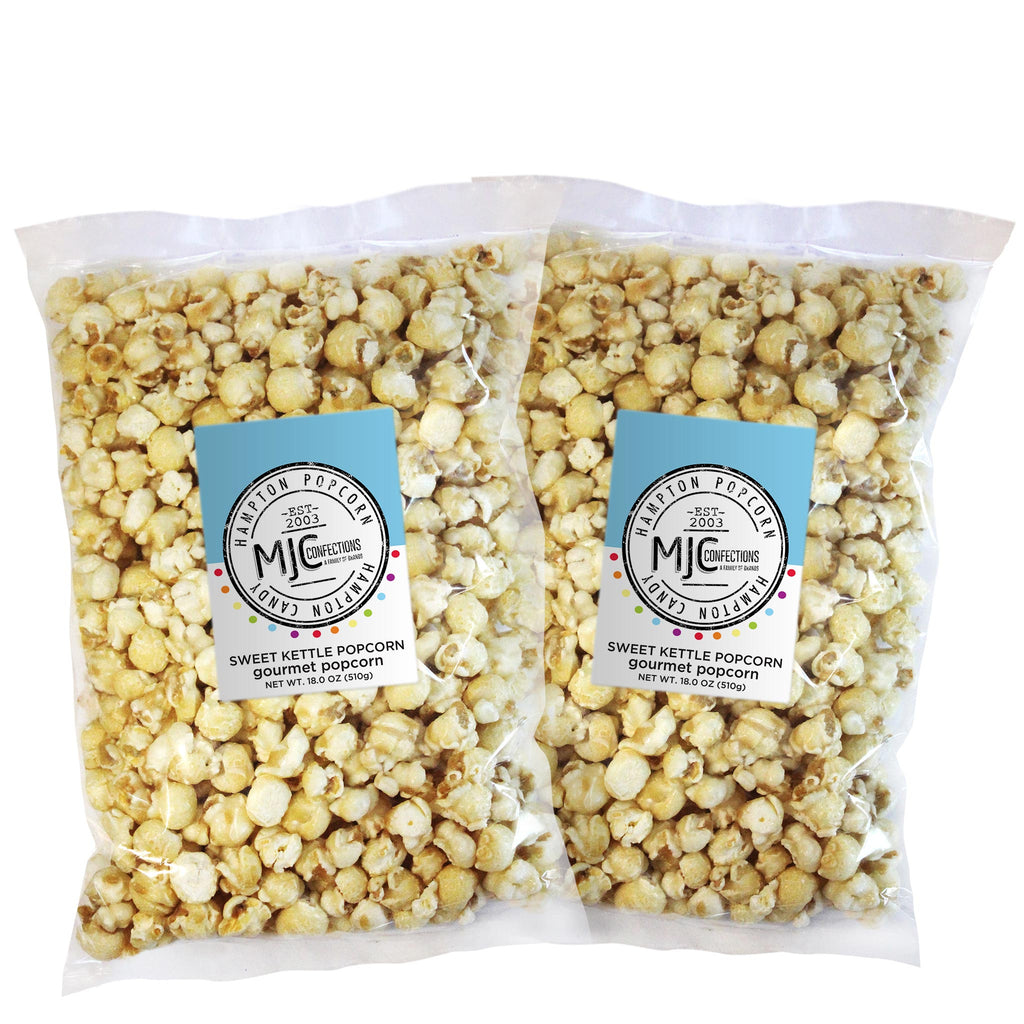 This is a 2 pack of popcorn bags filled with sweet kettle popcorn.