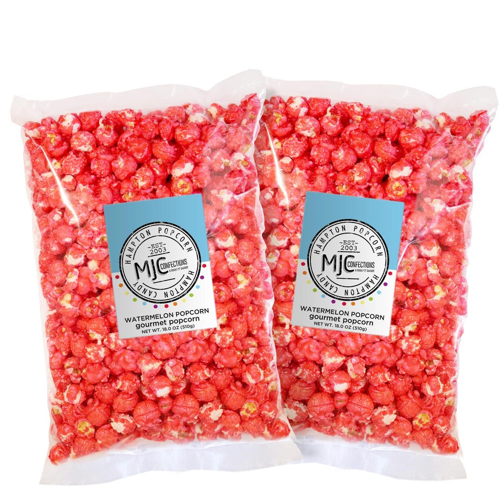 This is a 2 pack of popcorn bags filled with watermelon popcorn.