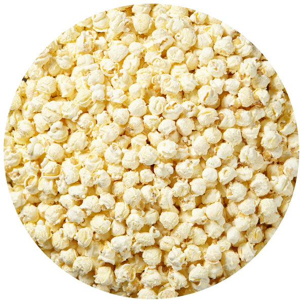 This is a swatch showing white cheddar cheese popcorn.