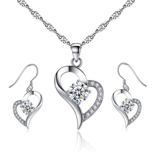Swarovski Elements Heart Shaped Necklace and Earring Set