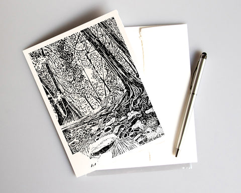 Brown's Brook. Blank card featuring a linoleum block print design by Natalia Wohletz of Peninsula Prints.  It's perfect for sending a personalized note, creating a custom invitation or displayed in a frame.  It is available individually, as a boxed set of six or in customized sets with a personalized message inside.