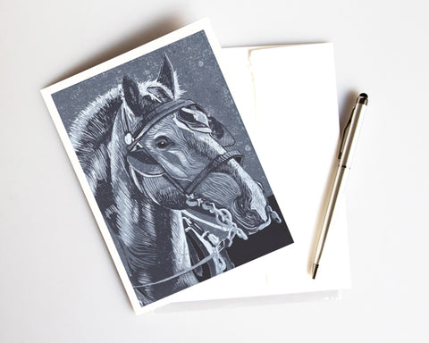 Horse in Monochrome card features a linoleum block print design by Natalia Wohletz of Peninsula Prints. Inspired by the hard-working horses of Mackinac Island, Michigan. Made in Michigan.