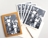 Two Horse Team in Monochrome Card