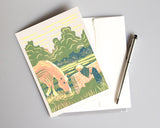 Peek-a-Boo blank greeting card. The design is based on an original four-color reduction linoleum block print by Natalia Wohletz of Peninsula Prints. The print celebrates the precious bond between children and horses. Peek-a-Boo was inspired by Blaze, a pony on Mackinac Island, Michigan.