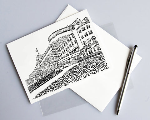 Grand Hotel 2 card features a linoleum block print design by Natalia Wohletz of Peninsula Prints.