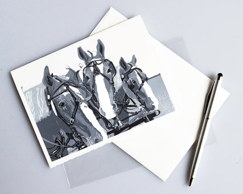 Three Horse Team in Monochrome Card