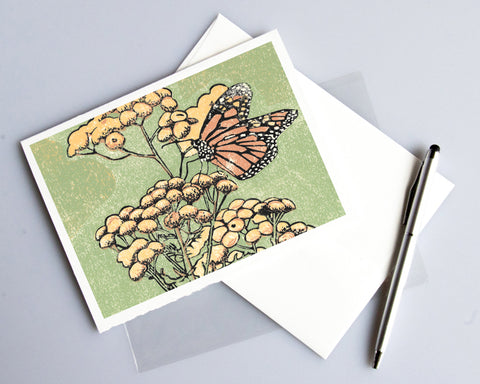 Monarch on Tansy card featuring a linoleum block print design by Natalia Wohletz of Peninsula Prints.