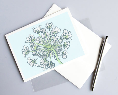 Queen Anne's Lace card featuring a linoleum block print design by Natalia Wohletz of Peninsula Prints.
