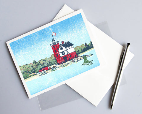 Round Island Light Card featuring a linoleum block print design by Natalia Wohletz of Peninsula Prints.