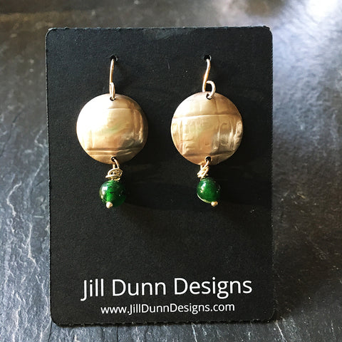 Sterling Silver Round Earrings with Green Beads