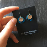 Blue Copper Patina with Silver Accent Earrings