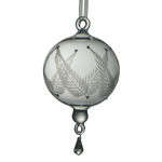 Glass Ornament with Etched Leaves Large