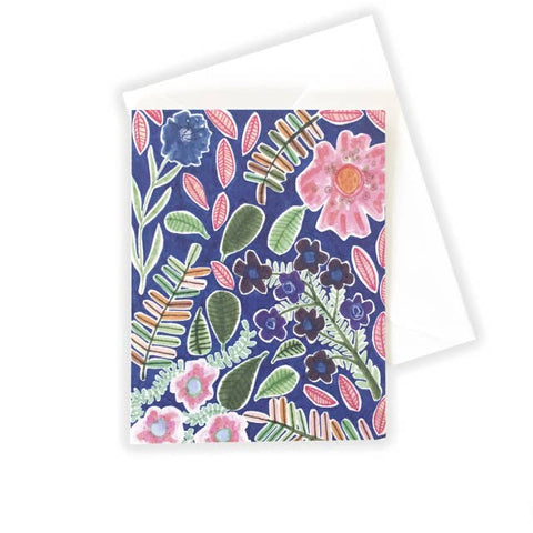 Flowers on Blue Notecard