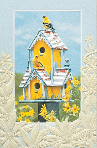 "House Hunting birthday card. Artwork by Victoria Wilson Schultz. Pumpernickel Press. Made in USA. Includes 1 card and 1 envelope. 8-1/4"" x 5-3/8"""