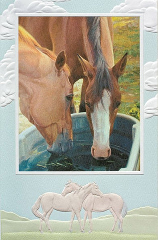 "Conversations at the Water Cooler is an anniversary card featuring artwork by Penny Hauffe. Pumpernickel Press. Made in USA. Includes 1 card and 1 envelope. 8-1/4"" x 5-3/8"""