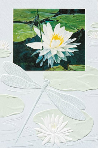"Blue Damselfly is a sympathy card featuring artwork by Russell Cobane. Pumpernickel Press. Made in USA. Includes 1 card and 1 envelope. 8-1/4"" x 5-3/8"""