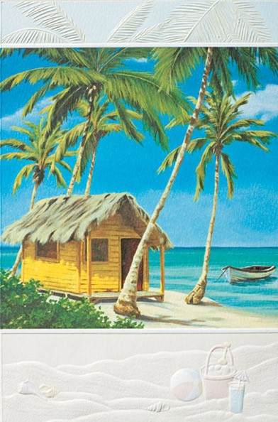 Retirement greeting card featuring a beach scene artwork by Pumpernickel Press.