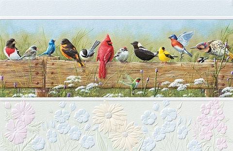 "Songbird Menagerie friendship card featuring wildlife artwork by James Hautman. Pumpernickel Press. Made in USA. Includes 1 card and 1 envelope. 8-1/4"" x 5-3/8"""