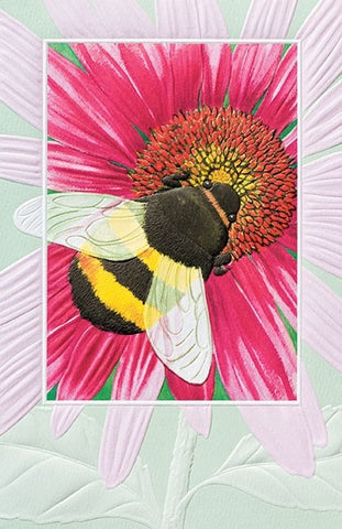 "Bumble Bee is a thank you card featuring wildlife artwork by David Sands. Pumpernickel Press. Made in USA. Includes 1 card and 1 envelope. 8-1/4"" x 5-3/8"""