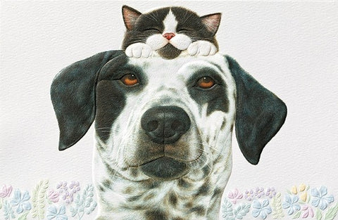 "Buddies is a friendship card featuring dog and cat artwork by Anne Mortimer. Pumpernickel Press. Made in USA. Includes 1 card and 1 envelope. 8-1/4"" x 5-3/8"""