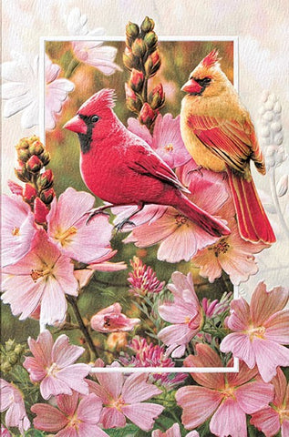 "Cardinals in Mallow is a romantic card featuring wildlife artwork by Greg Giordano. Pumpernickel Press. Made in USA. Includes 1 card and 1 envelope. 8-1/4"" x 5-3/8"""