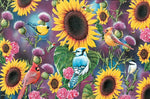 "Songbirds in Sunflowers is a thank you card featuring bluebird and sunflower artwork by Jerry Gadamus. Pumpernickel Press. Made in USA. Includes 1 card and 1 envelope. 8-1/4"" x 5-3/8"""