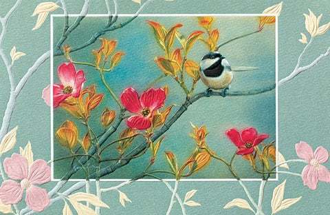 "Chickadee in Pink Dogwood is a coping and/sympathy card featuring artwork by Karen Latham. Pumpernickel Press. Made in USA. Includes 1 card and 1 envelope. 8-1/4"" x 5-3/8"""