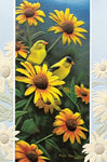 "Golden Summer is an anniversary card featuring wildlife artwork of a goldfinch and black eyed Susans by Pat Pauley. Pumpernickel Press. Made in USA. Includes 1 card and 1 envelope. 8-1/4"" x 5-3/8"""