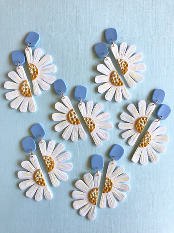 Modern Daisy Handpainted Clay Statement Earrings