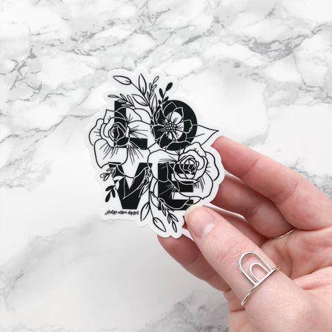 Love Black and White Floral, Vinyl Sticker