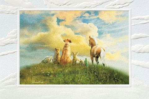 "Memories of Love is a pet sympathy card featuring artwork by Juan Vela. Pumpernickel Press. Made in USA. Includes 1 card and 1 envelope. 8-1/4"" x 5-3/8"""