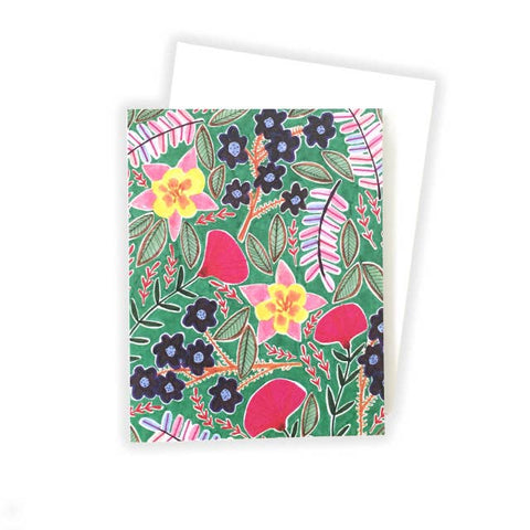 Flowers on Green Notecard