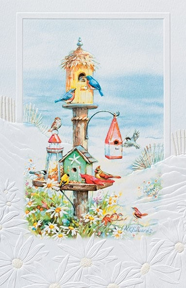 Seaside Singers is a birthday card featuring a painting of songbirds at the beach by Martha Edwards. Pumpernickel Press. Made in USA. Includes 1 card and 1 envelope. 8-1/4