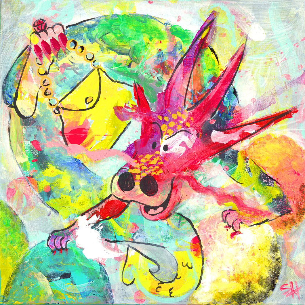 Accessorized Dragon Conquers the World - Fine Art Giclee of Original Acrylic Painting by Steph Joy Hogan