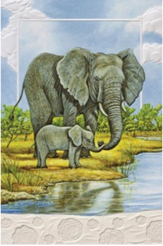 "This blank greeting card features a painting of African elephants by Carol Decker. Pumpernickel Press cards are made in USA. Includes 1 card and 1 envelope. 8-1/4"" x 5-3/8"""