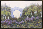 Arch Rock Lilacs by Maeve Croghan. Oil on canvas. Natural maple float frame with black interior.