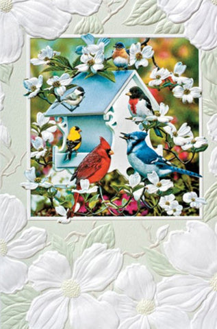 An embossed birthday card by Pumpernickel Press cards. Artwork by Russell Cobane features America's favorite songbirds. Made in the USA using agricultural-based inks.
