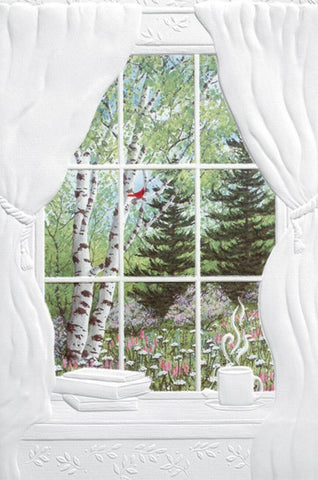 Backyard Window – An embossed thinking of you card by Pumpernickel Press.